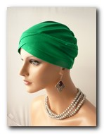 TV01 Turban verde din vascoza
