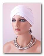 TV01 Turban alb din vascoza.